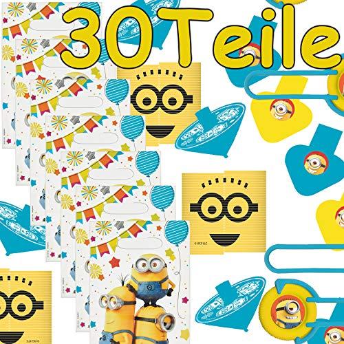 Carpeta 30-teiliges Mitgebsel-Set * Minions * für Mottoparty und Kindergeburtstag mit Partytüten, Jojos, Geduldspiele, Kaleidoskope und Notizbücher | Despicable Me Party Geburtstag