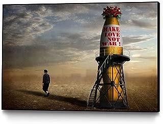 Giant Art - Framed wall art print   Make love, not war !   Ready to hang artwork for home or office decor, 14 x 11