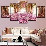 Bzdmly Modulare Kunst Poster Leinwanddruck 5 Stücke Alley Blossom Park Sakura Baum Gemälde Rahmen Decor Wohnzimmer Home Wand Bild-A