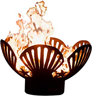 Fire Pit Arts Outdoor Propane Fire Pit - Barefoot Beach - Gas Fire Pit Steel Bowl Includes Brass Burner Lava Rock Flex Line Kit and Plate