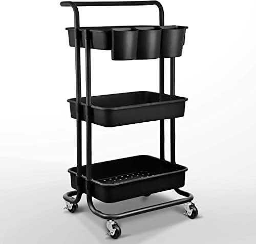 wholesale Asoopher online 3-Tier Rolling lowest Utility Cart, Storage Shelves Organizer, Coffee Bar with Lockable Wheels, Handle, 3 Hanging Baskets and 4 Hooks, Easy Assembly, for Bathroom, Kitchen, Office, Workshop, Black online