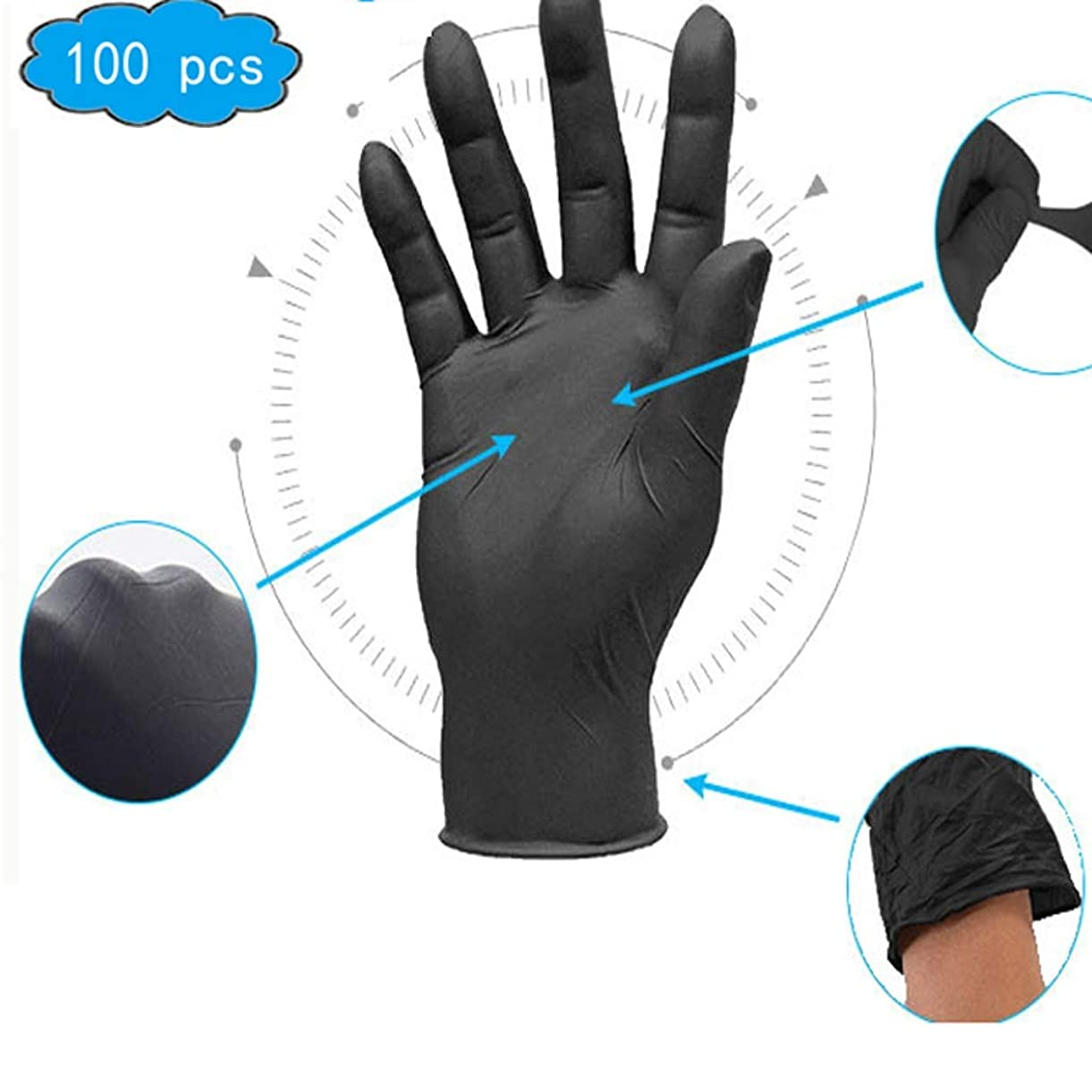 安全なワット雄大な使い捨て手袋 - 健康における、パウダーフリー、ラテックスフリー、大型の100箱、サニタリーグローブ、家庭用ベビーケア用品、研究室および科学製品 (Color : Black, Size : XL)