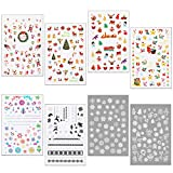 HOWAF 400+pcs pegatinas uñas navidad, 3D Nail Art Stickers Calcomanías autoadherentes pa...