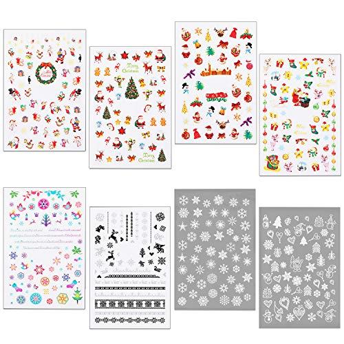HOWAF 400+pcs pegatinas uñas navidad, 3D Nail Art Stickers Calcomanías autoadherentes para Navidad y Año Nuevo...