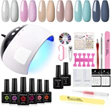 COSCELIA 6 Colors Nail Gel Polish Starter Kit with 24W LED Nail Dryer, UV Primer, Top Coat, Manicure Tools and Decorations