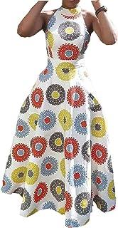 VERWIN Print Floor-Length Sleeveless Pullover Dress Geometric Women's Maxi Dress