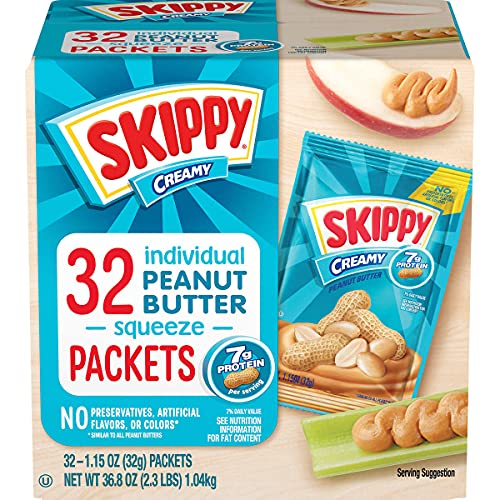 Skippy Creamy Peanut Butter Squeeze Packets, 1.15 oz, 32 ct