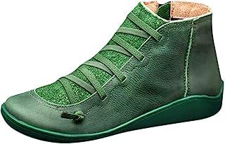 DAIFINEY Dames winterlaarzen retro veterlaarzen korte schacht laarzen halve laarzen laarzen laarzen bootie instaplaarzen s...