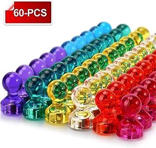 Wukong 60 Piezas Color Strong Imanes de nevera Whiteboard Magnets Magnetic Push Pins para mapa, oficina, pizarra, refrigerador, mapa y calendario
