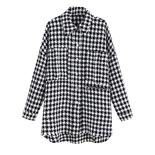 Plaid Twist Tweed lange jas omlaag kraag asymmetrische Trendy geruit bovenkleding
