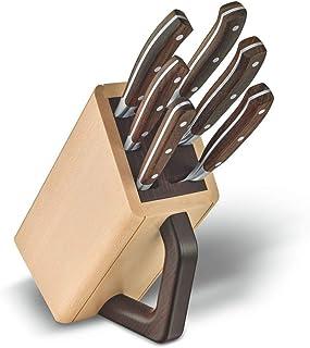 Victorinox 7.7240.6 Grand Maître Messerblock Buche 6 TLG. Küchenmesser, Tranchiergabel, Ahorn, Holz