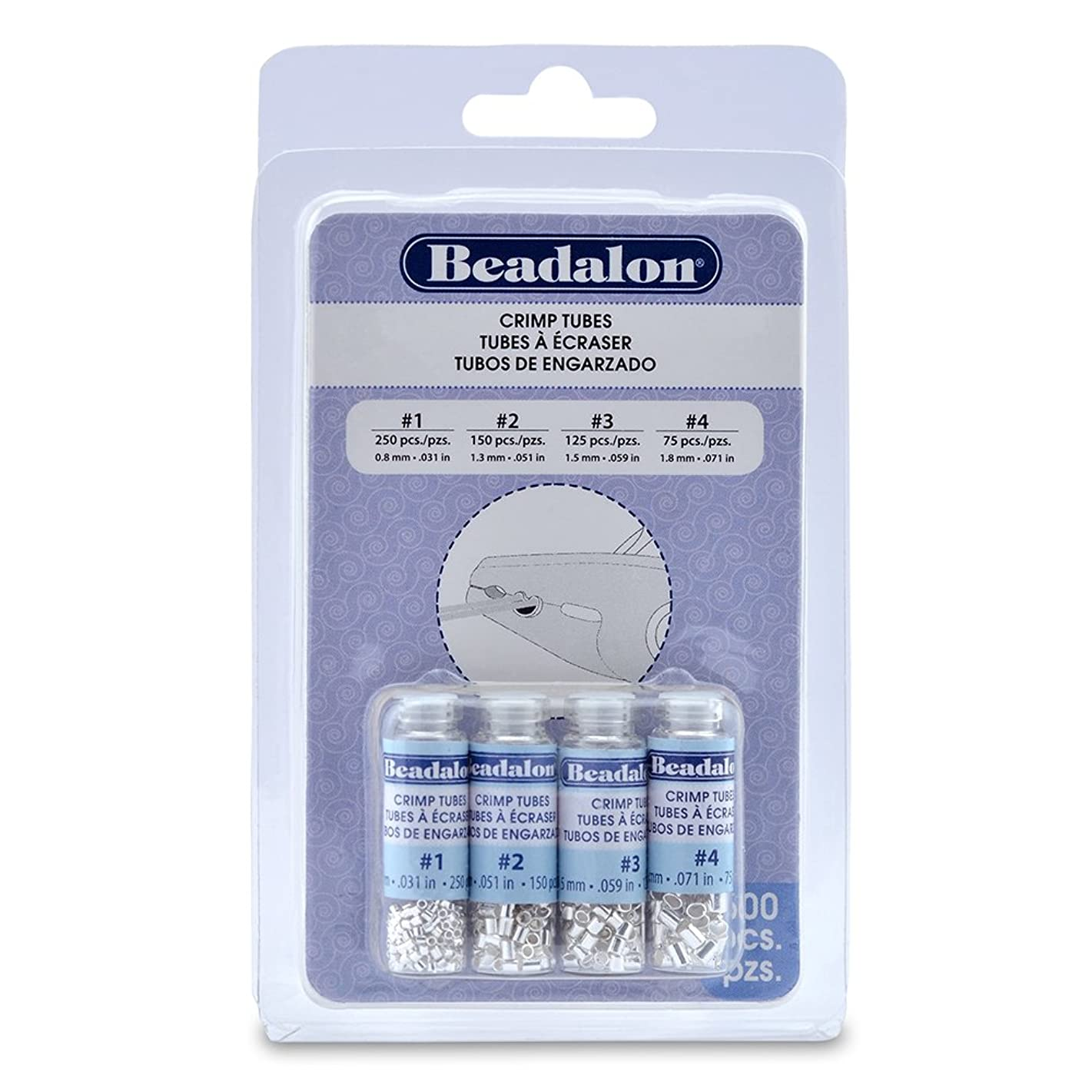 Artistic Wire 305B-121 Beadalon Crimp Tube Variety Pack #1-4 Silver, Plated, 600-Piece