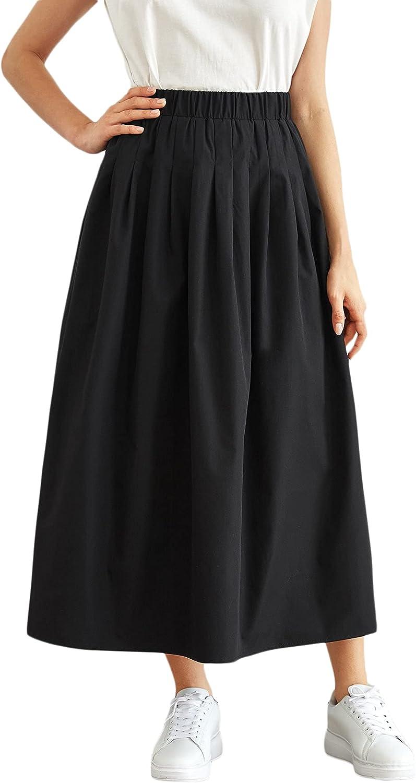 MakeMeChic Women's Elastic Waist Solid Pleated A Line Swing Long Skirt