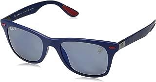RAY-BAN RB4195MF Scuderia Ferrari Collection Asian Fit Wayfarer Sunglasses, Matte Blue/Polarized Blue Mirror, 52 mm
