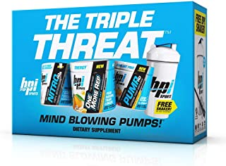 BPI Sports The Triple Threat Kit (One More Rep Hurricane Orange, Pump HD Wicked Fruit Blast, Nitro HD sin sabor + Free BPI...