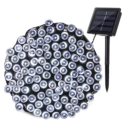 Qedertek Solar Christmas String Lights, 72ft 200 LED Outdoor Fairy Decorative Lights with 8 Lighting Modes for Home, Lawn, Garden, Patio, Party and Holiday Decorations (Cool White)