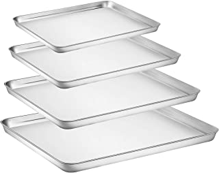 Baking Sheet Set of 4, Yododo Stainless Steel Baking Pan Tray Cookie Sheet, Non Toxic & Healthy, Mirror Finish & Rust Free, Easy Clean & Dishwasher Safe (16inch 12inch 10inch 9inch)