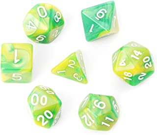XISAOK 7Pieces/Set Acrylic Polyhedral Dice for TRPG Board Game Dungeons and Dragons D4-D20 Green