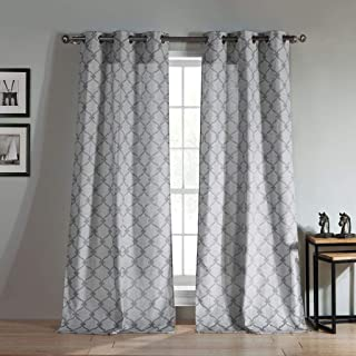 Duck River Textiles - Kenilworth Geometric Linen Textured Grommet Top Window Curtains for Living Room & Bedroom - Assorted Colors - Set of 2 Panels (38 X 96 Inch - Charcoal)