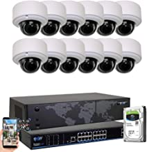 GW Security 16CH 4K NVR H.265 8MP IP Security Camera System - 12 x UltraHD 4K 8.0 Megapixel 2.8~12mm Varifocal Zoom PoE IP Dome Camera + 4TB Hard Drive - Support ONVIF Quick QR Code Remote Access
