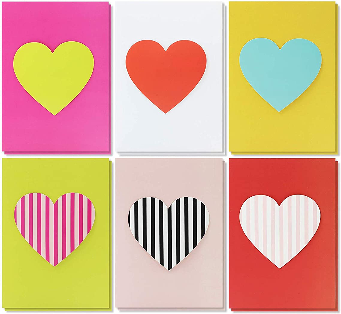 Best Paper Greetings 12-Pack Unique Handmade Heart Greeting Cards for Valentines Day and Anniversary, 6 Designs, Envelopes Included, 5 x 7 Inches