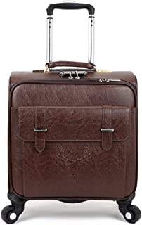 SRY-Luggage Cowhide Luggage Trolley Case, Men and Women Business Boarding, Travel Box Universal Wheel Password Luggage Box 18 Inch Durable Carry on Luggage (Color : Brown)