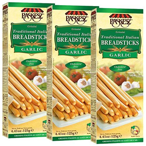 Grissini Breadsticks, Garlic - All Natural Traditional Italian Breadsticks, Non-GMO - 4.4 Ounce, 3 Pack