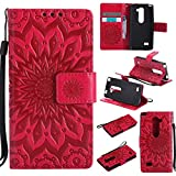 LG Leon LTE C40 H345 MS345 H340 H326 H320 / Tribute 2 LS665 / Sunset L33L / Power L22C / Destiny L21G (Released in 2015) Wallet Phone Case ihreesy Sun Embossed PU Leather Book Folio Cover-Rose Red