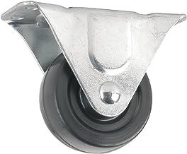 Roda de borracha resistente com placa superior rígida não giratória - 7,6 cm - 102 kg Capacidade de carga
