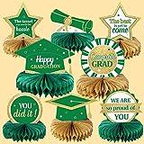 2021 Graduation Party Decorations Class of 2021 Congrats Grad Honeycomb Centerpieces Congratulate Graduation Table Toppers for Graduation Party Favor Supplies Green 8Pcs