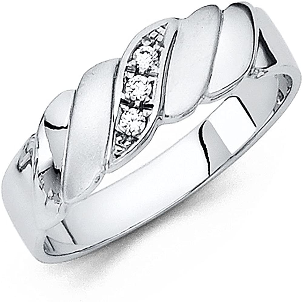 Sonia Jewels 14k White Gold Ring Round Cubic Zirconia CZ Mens Anniversary Wedding Band