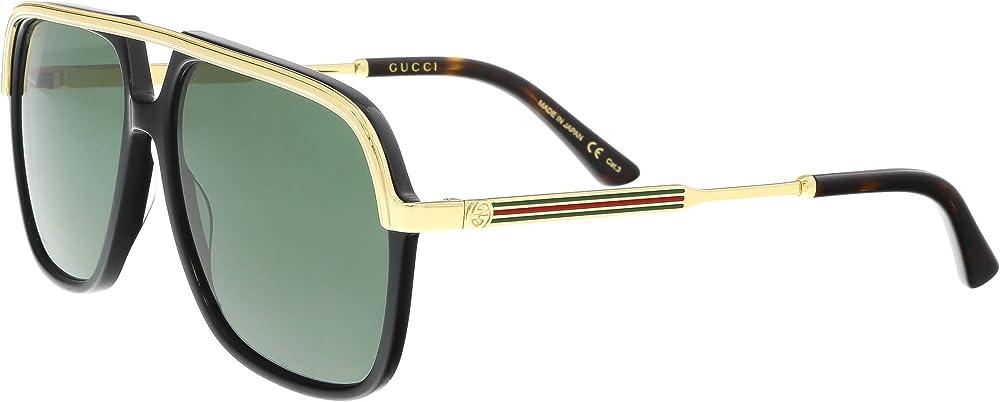 Gucci, occhiali da sole unisex, montatura in metallo, colore delle lenti verde GG0200S