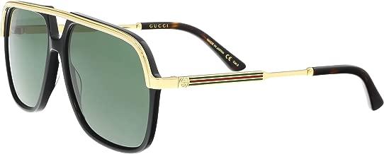 Gucci GG0200S 001 Black/Gold GG0200S Square Pilot Sunglasses Lens Category 3