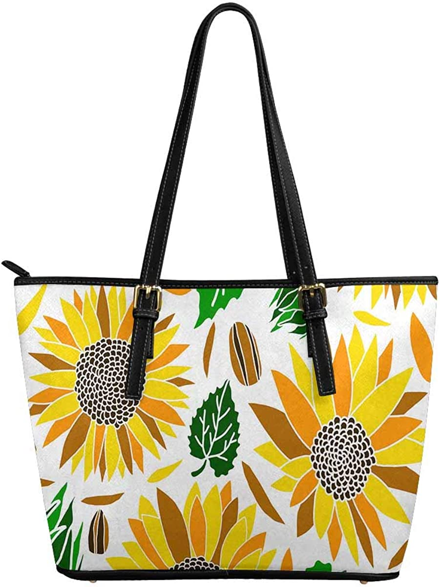 INTERESTPRINT Sun Flower Isolated in White Women Totes Top Handle HandBags PU Leather Purse