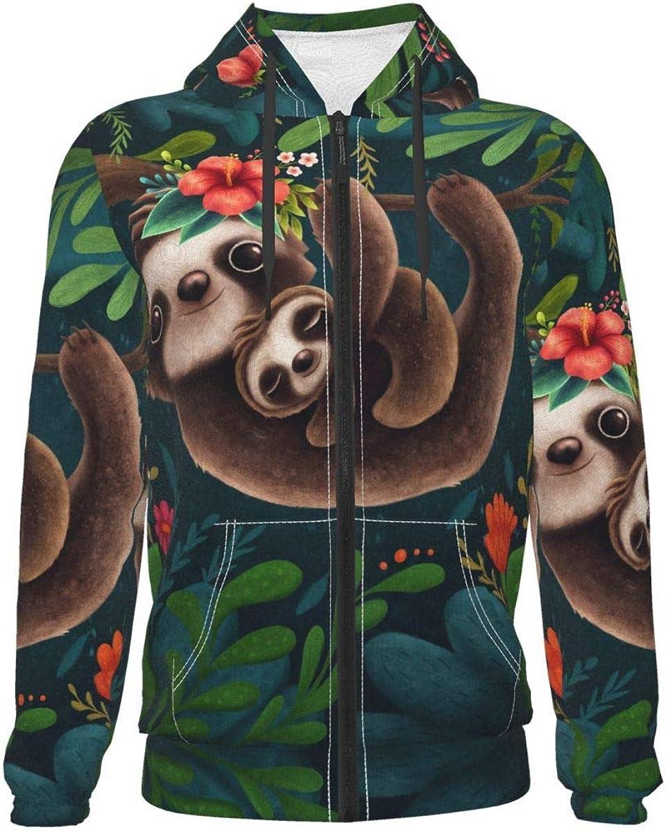 X-Peach Sloth Mom Hug Baby Kids & Youth Full-Zip Fleece Hoodie Boys Print Hooded Sweatshirt Jacket Pockets