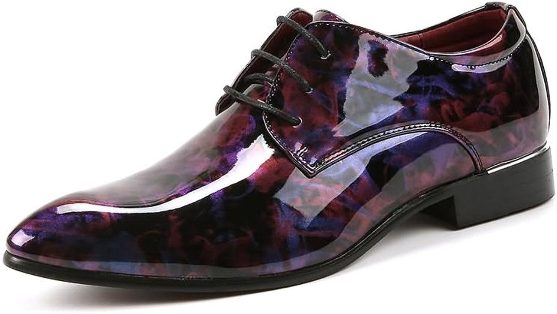 Ruanyi Leder Oxford Schuhe Männer, Glatte Glatte Glatte abstrakte Malerei PU Leder Classic Lace Up gefüttert Formale Geschäfts Hochzeit Müßiggänger für Männer (Farbe   Wein, Größe   41 EU)  61b511