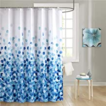 Uphome Fabric Shower Curtain, Blue Pebble Stone Rocks on White Bathroom Cloth Shower Curtain Set with Hooks, Heavy Duty Waterproof, 72x72