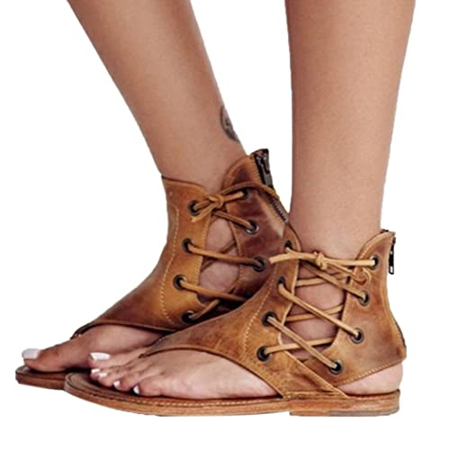 255d7f1ed20d Women s Flat Sandals Clearance Sale!OverDose Pinch Flat-Bottomed Roman  Sandals Strappy Ankle Flat
