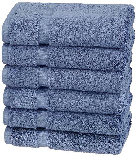Amazon Brand – Pinzon Organic Cotton Hand Towels, Set of 6, Indigo Blue