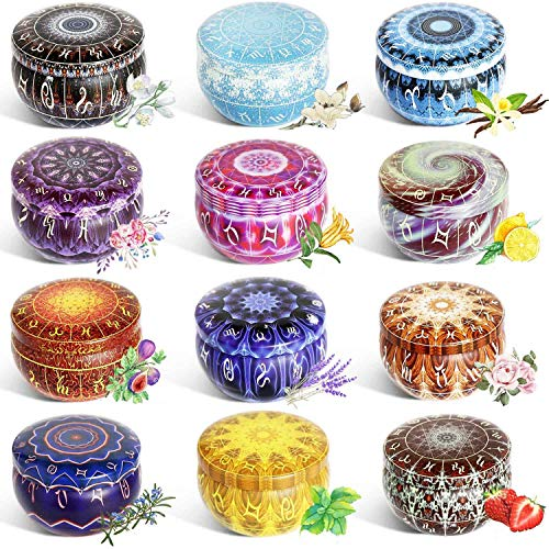 12 Pcs Candle Tin Jars DIY Candle Making kit Holder Storage case for Dry Storage Spices, Camping, Party Favors, and Sweets Gifts …