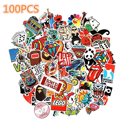 Cool Stickers, Laptop Stickers, Sun Protection and Waterproof Stickers for Luggage Car Bike Bicycle Random Music Film Vinyl Skateboard Guitar Travel Case (100pcs)