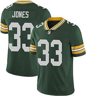 メンズラガーシャツ, メンズラグビージャージアメリカフットボールシャツRugby Jersey番号33 JONES 、綿の半袖スポーツウェア、日常着やラグビー競技に最適 (Color : 緑, Size : S)