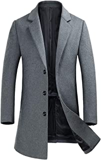 Zeetoo Men's Wool Peacoat Winter Long Trench Coat Top Coat