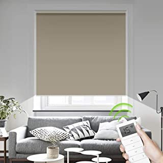 Motorized Smart Blinds Remote Control Window Roller Shade Wireless Rechargeable -100% Blackout Window Shades for Office Restaurant Customized Size (Coffee)