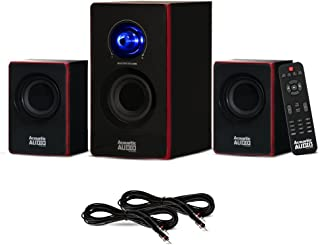 Acoustic Audio AA2103 Bluetooth Home 2.1 Speaker System and 2 Extension Cables for Multimedia