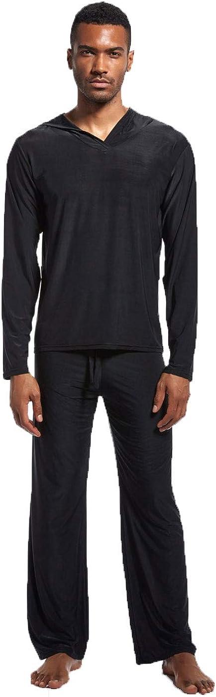 Men Ice Silk Yoga Loungewear Set Sleepwear Long Sleeve Hooded Top with Pajamas Pants