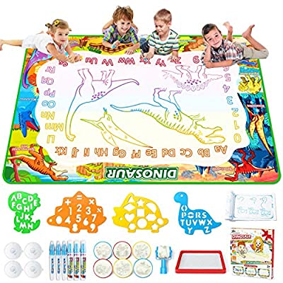 Jasonwell Aqua Magic Doodle Mat - 60 x 40 Inches Large Water Drawing Doodling Mat Painting Writing Doodle Board Coloring Mat Educational Toy Gift for Kids Toddlers Age 3 4 5 6 7 8 Year Old Girls Boys