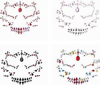 Beaupretty Halloween Gezicht Gems 4 Stuks Schedel Gezicht Gems Juwelen Halloween Tijdelijke Gezicht Tattoos Strass Gezicht...