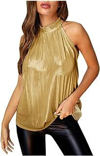 Allywit Women's Sleeveless Sparkle Shimmer Camisole Vest Halter Tank Tops