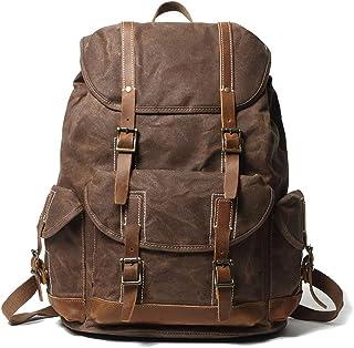 EURYNOME Rucksack aus gewachstem Segeltuch, hohe Dichte, dicker Segeltuch-Rucksack, echtes Leder, Tagesrucksack für Reisen und Schule
